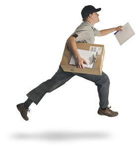 Man running to deliver a parcel on time